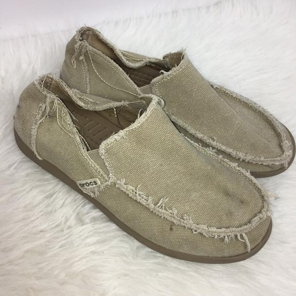 cbed2c7f4fb24 Crocs Shoes | Mens Size 8 Santa Cruz Canvas Loafer Khaki | Poshmark